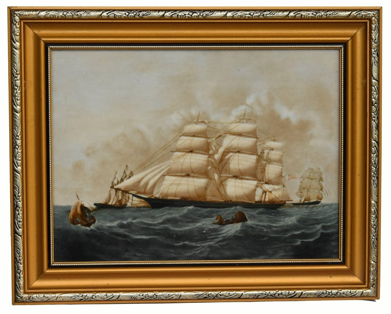 Late 20th Century Clipper Ships of America after Original Painting Nautical Sailing Framed Plaques For Sale