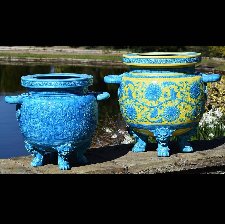 Aesthetic Movement 19th Century Minton Majolica  Blue Aesthetic  Jardiniere Christopher Dresser For Sale