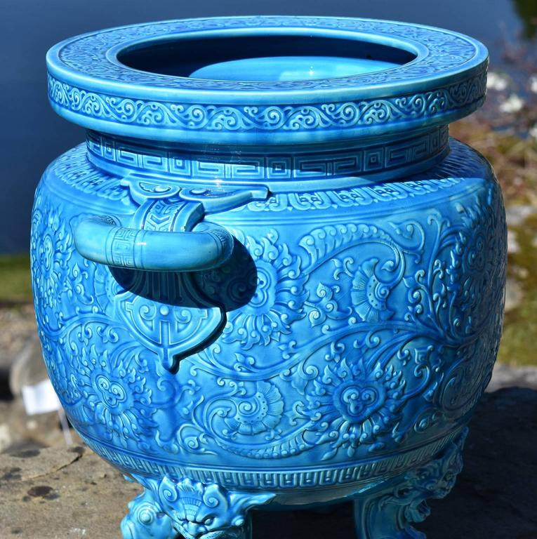 English 19th Century Minton Majolica  Blue Aesthetic  Jardiniere Christopher Dresser For Sale