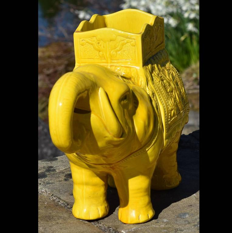 Molded 19th Century Yellow Elephant Jardiniere Vase Ault Arts & Crafts For Sale