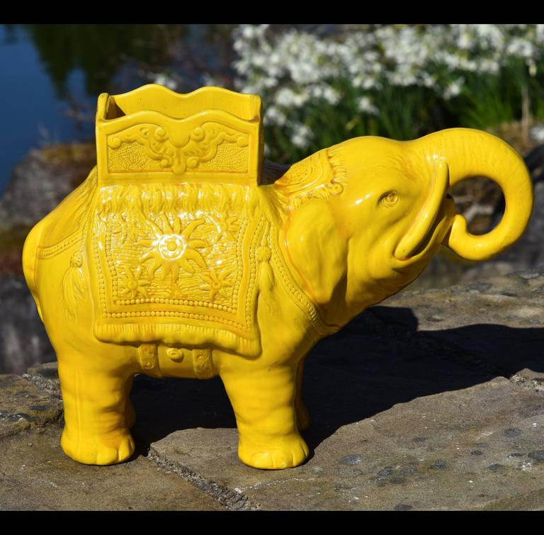 Late 19th Century 19th Century Yellow Elephant Jardiniere Vase Ault Arts & Crafts For Sale