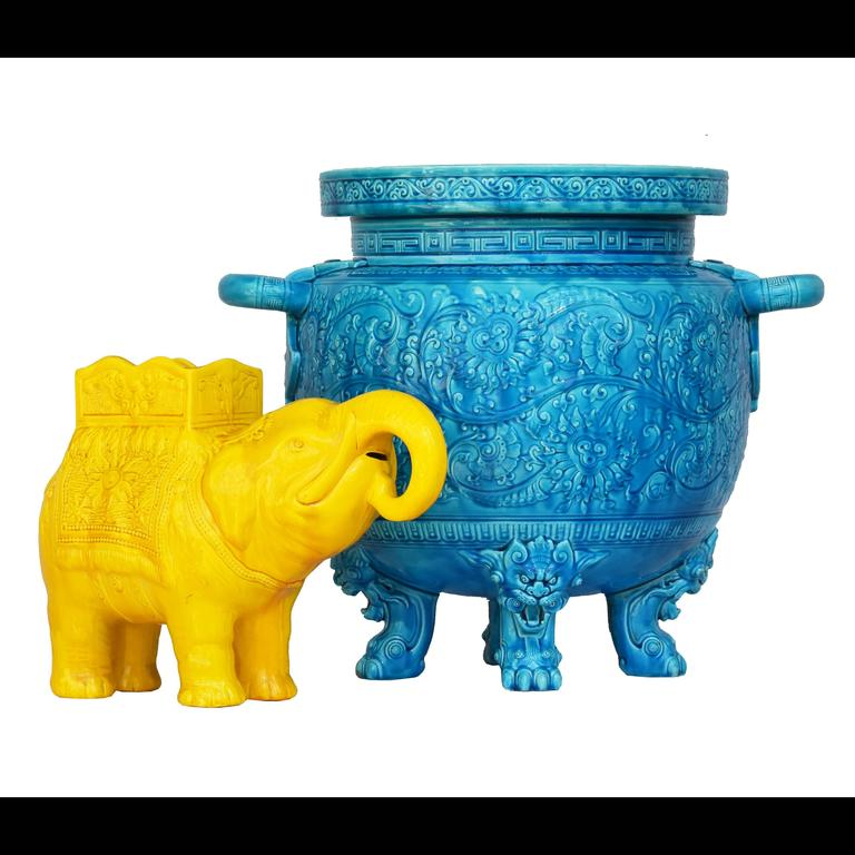 Victorian 19th Century Yellow Elephant Jardiniere Vase Ault Arts & Crafts For Sale