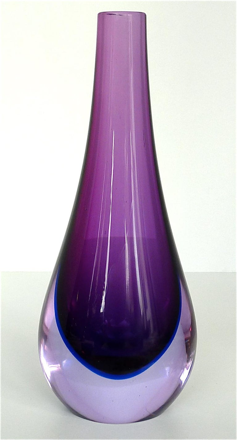 Mid-Century Modern Flavio Poli Seguso Vase and Bowl Purple Pink Blue Murano Art Glass Italy, 1950s For Sale