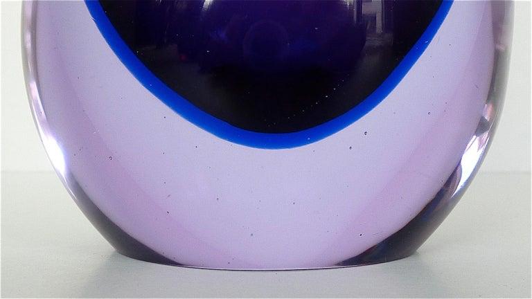 Mid-20th Century Flavio Poli Seguso Vase and Bowl Purple Pink Blue Murano Art Glass Italy, 1950s For Sale