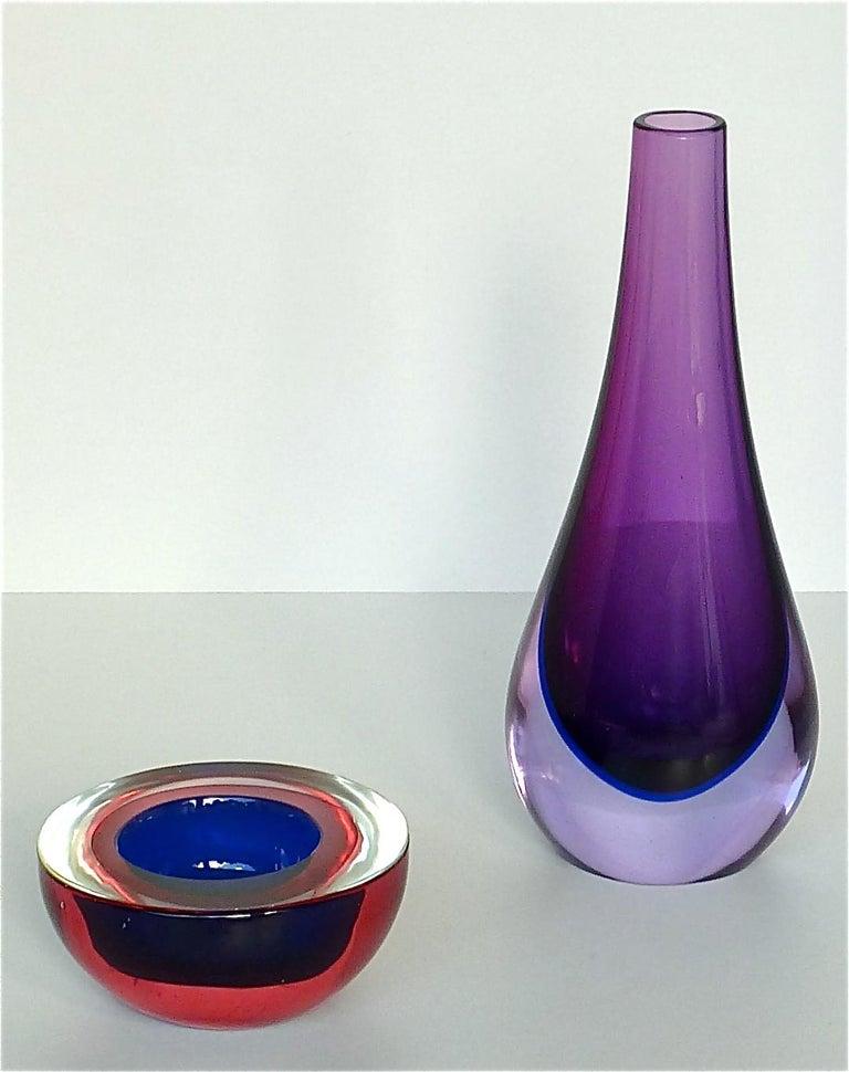 Flavio Poli Seguso Vase and Bowl Purple Pink Blue Murano Art Glass Italy, 1950s For Sale 2