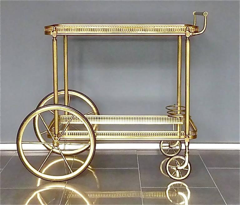 brass glass bar cart serving table trolley maison bagu s jansen french 1950s at 1stdibs. Black Bedroom Furniture Sets. Home Design Ideas