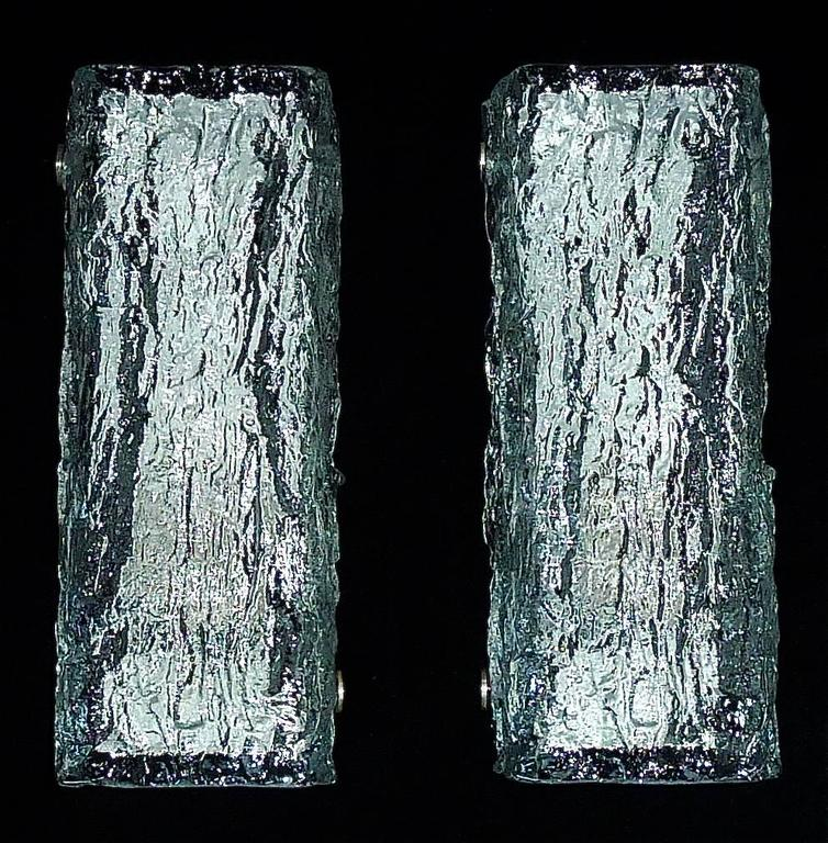 Pair of Modernist Vanity Murano Ice Glass Sconces by Kaiser Silvered White Metal 2