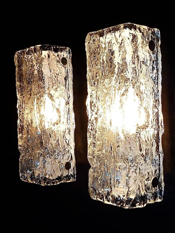 Pair of Modernist Vanity Murano Ice Glass Sconces by Kaiser Silvered White Metal 10