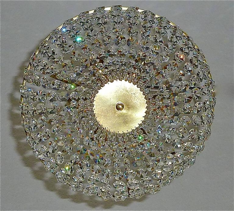 Mid-Century Modern Sparkling Cut Crystal Glass and Brass Basket Chandelier Bakalowits Austria 1960s For Sale