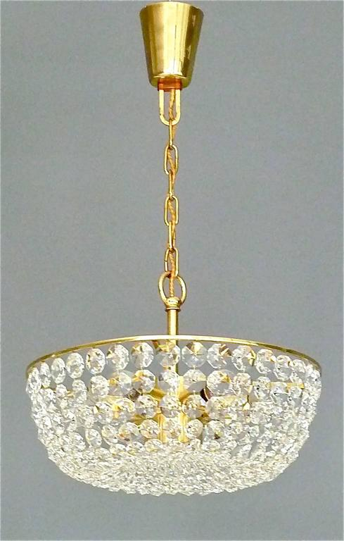 Austrian Sparkling Cut Crystal Glass and Brass Basket Chandelier Bakalowits Austria 1960s For Sale