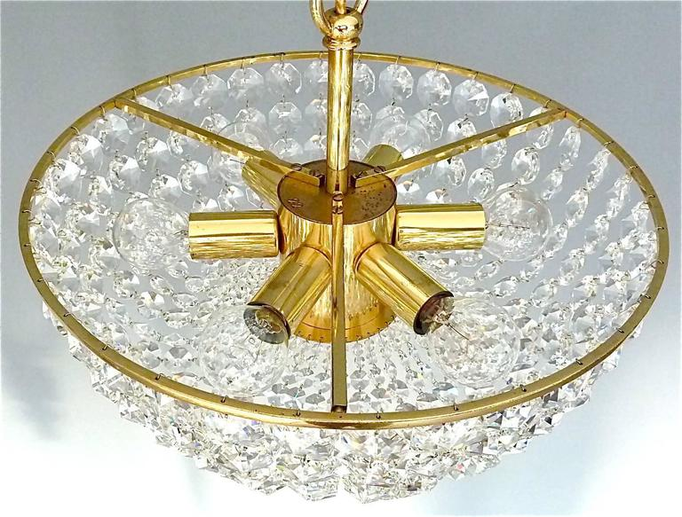 Patinated Sparkling Cut Crystal Glass and Brass Basket Chandelier Bakalowits Austria 1960s For Sale