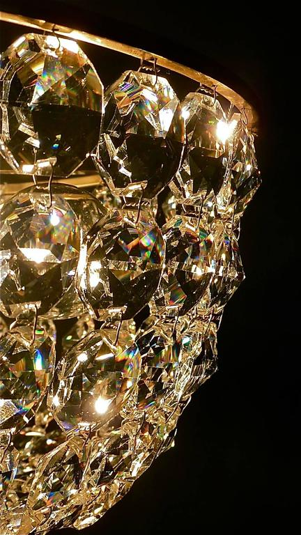 Sparkling Cut Crystal Glass and Brass Basket Chandelier Bakalowits Austria 1960s For Sale 2