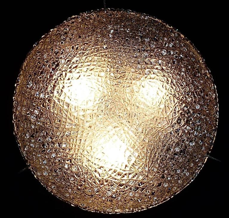 Mid-20th Century Modernist Kaiser Textured Murano Ice Glass Flush Mount or Wall Lamp, Germany For Sale