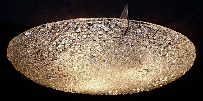 Modernist Kaiser Textured Murano Ice Glass Flush Mount or Wall Lamp, Germany For Sale 2