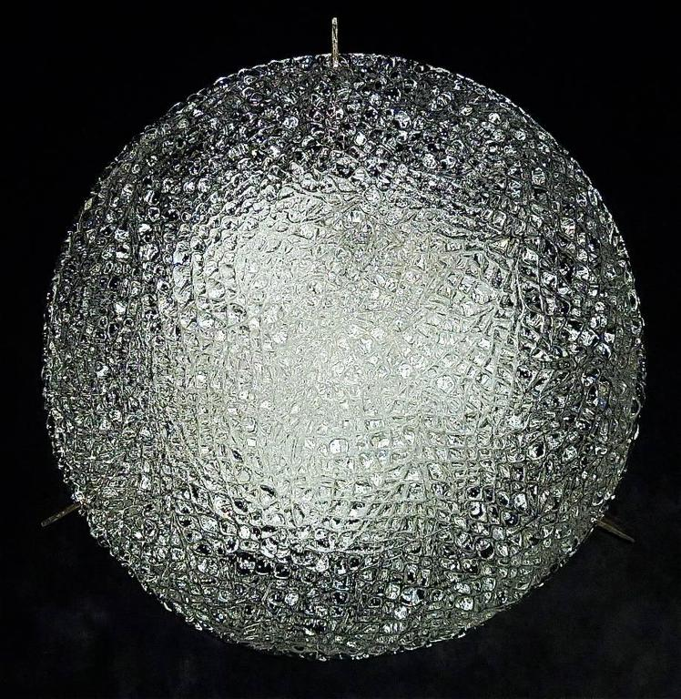 Modernist Kaiser Textured Murano Ice Glass Flush Mount or Wall Lamp, Germany For Sale 4