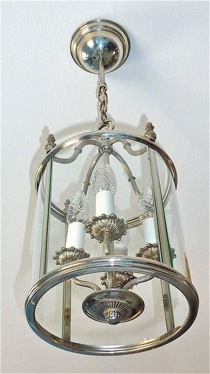 Signed and beautiful silvered brass lantern or pendant lamp made by the Italian designer Gaetani Sciolari circa 1960-1970 in Italy. The fabulous of vintage light takes four E14 European standard screw bulbs to illuminate. The lantern looks like a
