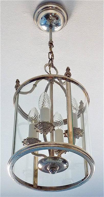 Neoclassical Floral Sciolari Silver Brass Candelabra Lantern Lamp 1960s italian chandelier