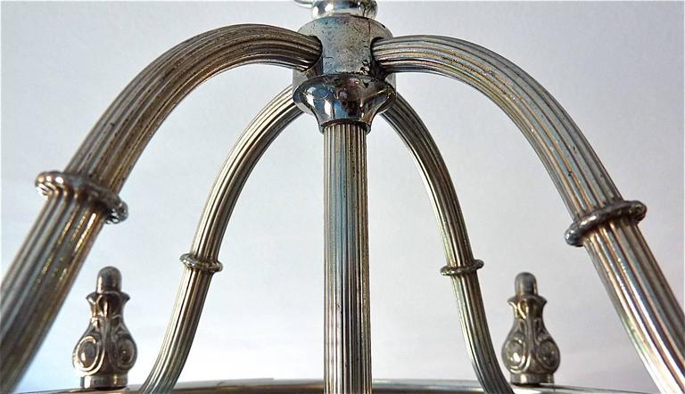 Silvered Floral Sciolari Silver Brass Candelabra Lantern Lamp 1960s italian chandelier