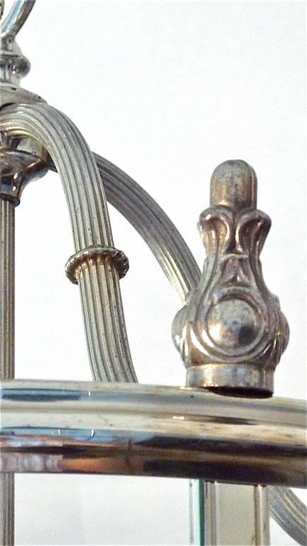 Floral Sciolari Silver Brass Candelabra Lantern Lamp 1960s italian chandelier In Good Condition In Nierstein am Rhein, DE