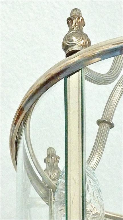 Mid-20th Century Floral Sciolari Silver Brass Candelabra Lantern Lamp 1960s italian chandelier