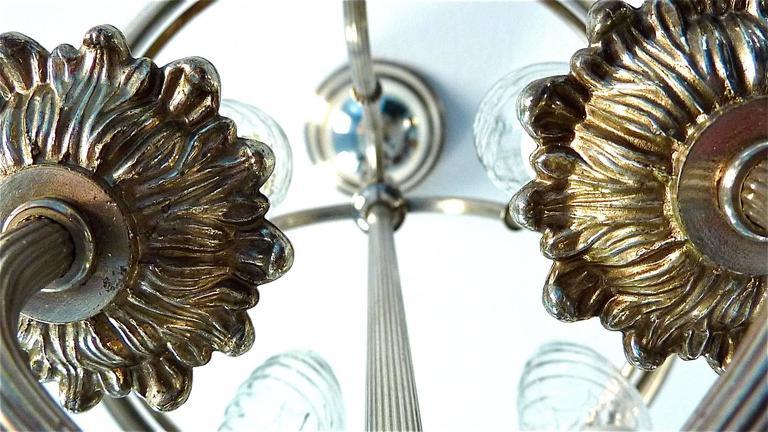 Floral Sciolari Silver Brass Candelabra Lantern Lamp 1960s italian chandelier 1