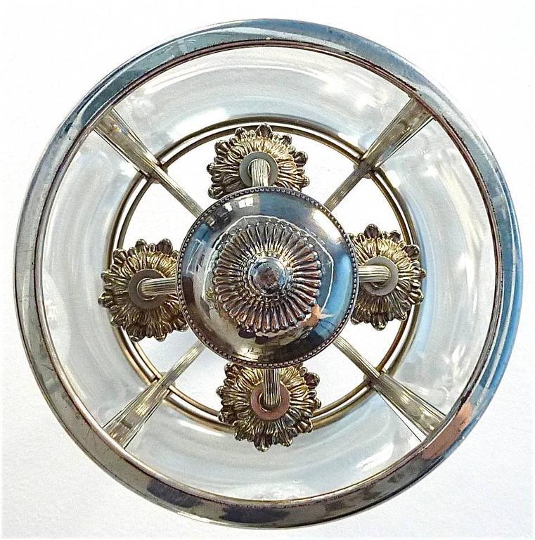 Floral Sciolari Silver Brass Candelabra Lantern Lamp 1960s italian chandelier 2