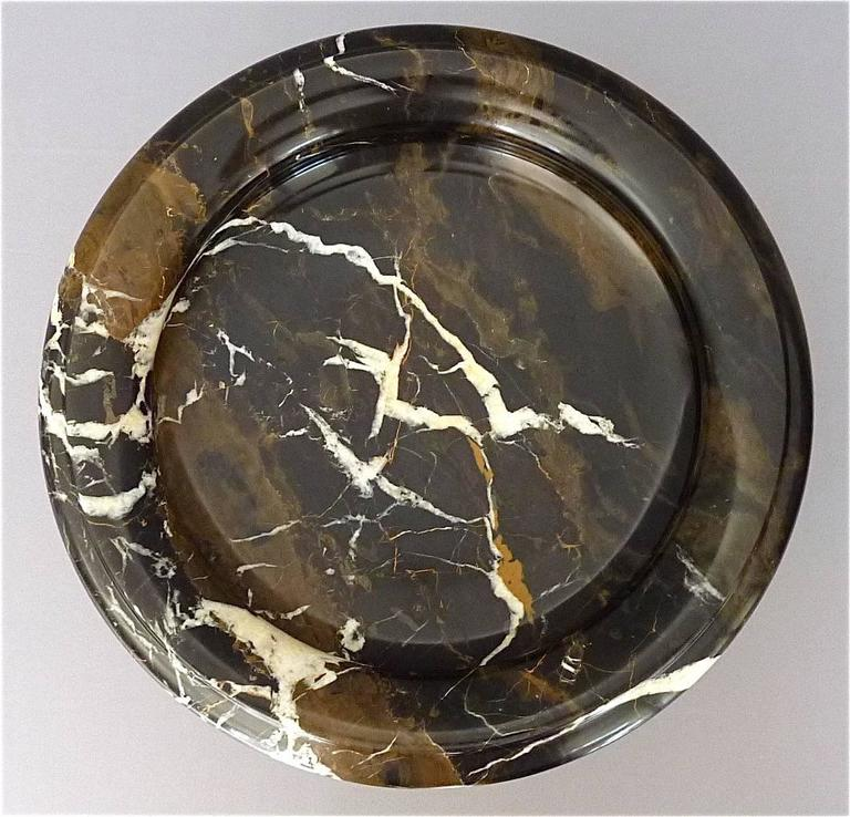 Antique Black White Marble Bowl Centerpiece Italian Neoclassical 19th Century   For Sale 1