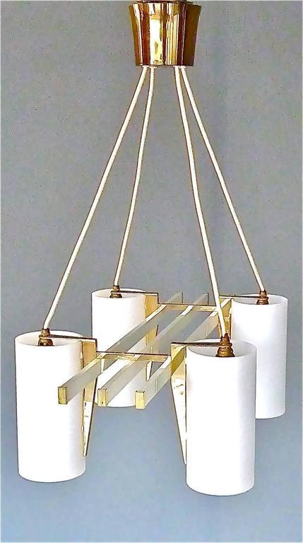 Mid-Century Modern Sculptural 1950s Brass Tube Glass Chandelier Arredoluce Angelo Lelii Style For Sale