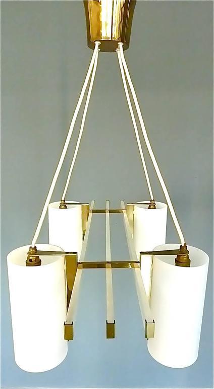 German Sculptural 1950s Brass Tube Glass Chandelier Arredoluce Angelo Lelii Style For Sale