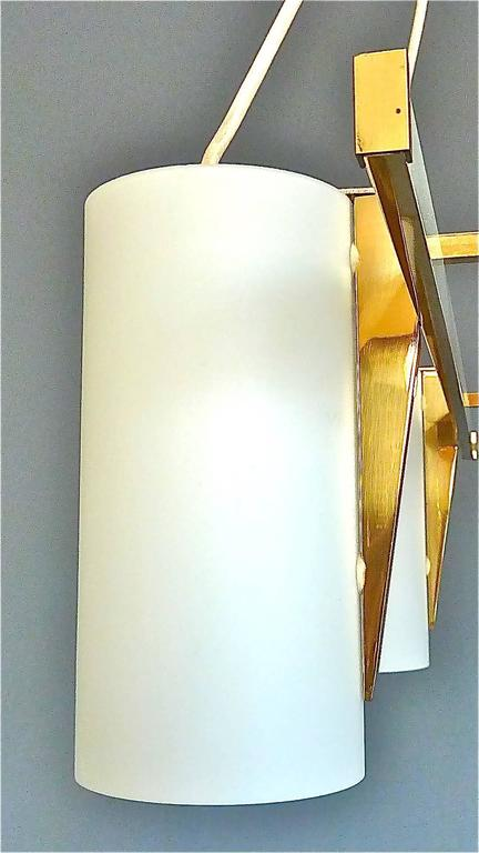 Enameled Sculptural 1950s Brass Tube Glass Chandelier Arredoluce Angelo Lelii Style For Sale