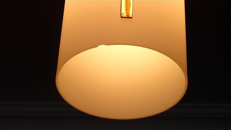 Sculptural 1950s Brass Tube Glass Chandelier Arredoluce Angelo Lelii Style For Sale 1