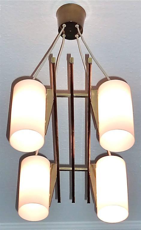 Sculptural 1950s Brass Tube Glass Chandelier Arredoluce Angelo Lelii Style For Sale 2