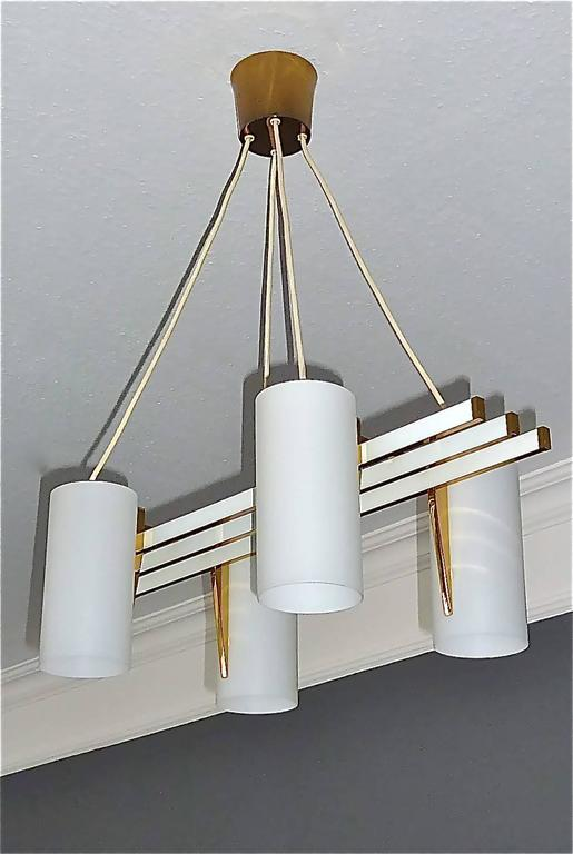 Sculptural 1950s Brass Tube Glass Chandelier Arredoluce Angelo Lelii Style For Sale 3