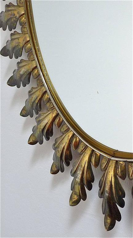 Patinated 1950s Large Oval Brass Wall Mirror Midcentury Floral Leaf Starburst Sunburst For Sale
