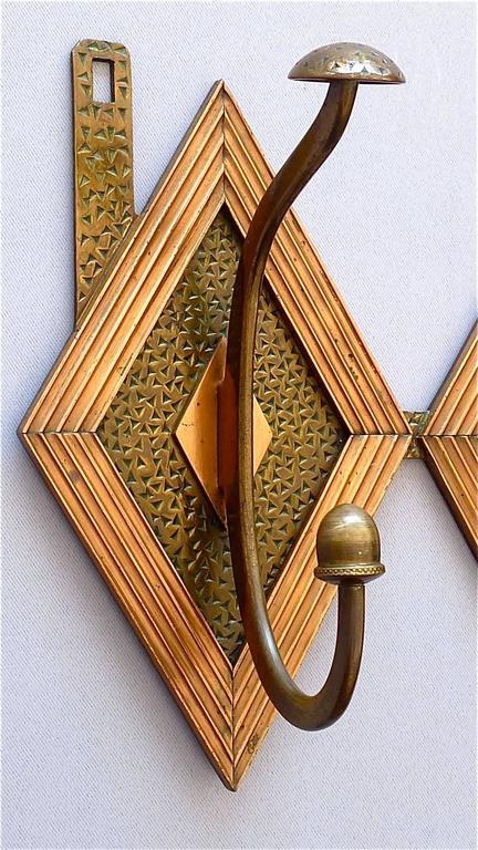 Französische Bronze Kupfer Garderobe im Jugendstil, Deco Arts & Crafts 1920 2