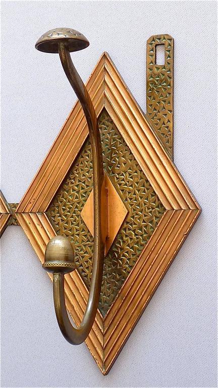 Französische Bronze Kupfer Garderobe im Jugendstil, Deco Arts & Crafts 1920 4