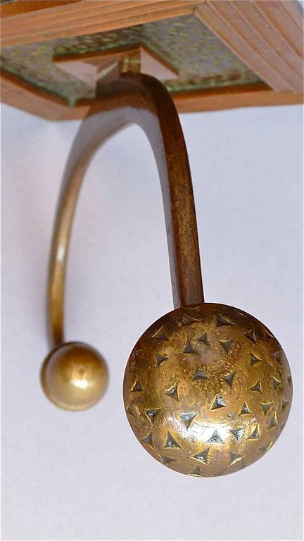Französische Bronze Kupfer Garderobe im Jugendstil, Deco Arts & Crafts 1920 6