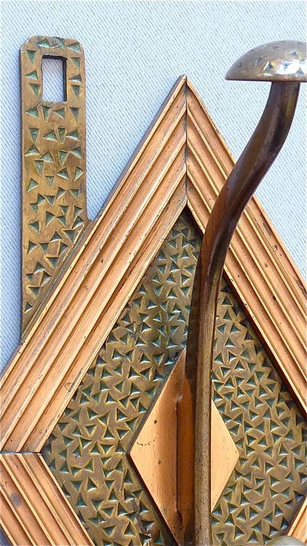 Französische Bronze Kupfer Garderobe im Jugendstil, Deco Arts & Crafts 1920 7