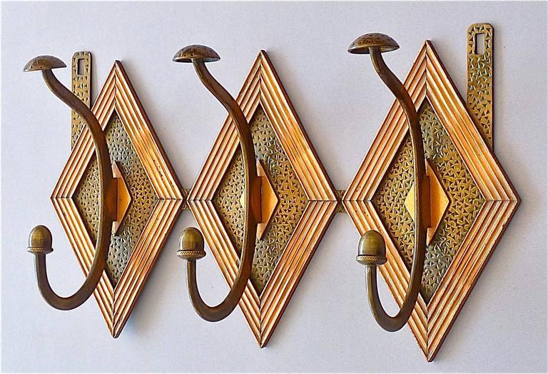 Französische Bronze Kupfer Garderobe im Jugendstil, Deco Arts & Crafts 1920 10