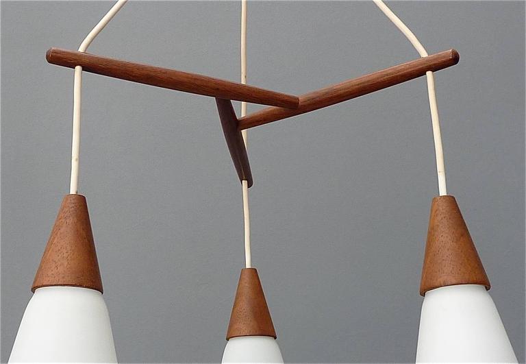Swedish Sculptural Scandinavian Teak White Glass Midcentury Lamp Luxus Uno Kristiansson For Sale