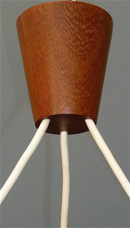 Mid-20th Century Sculptural Scandinavian Teak White Glass Midcentury Lamp Luxus Uno Kristiansson For Sale