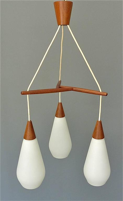 Scandinavian Modern Sculptural Scandinavian Teak White Glass Midcentury Lamp Luxus Uno Kristiansson For Sale