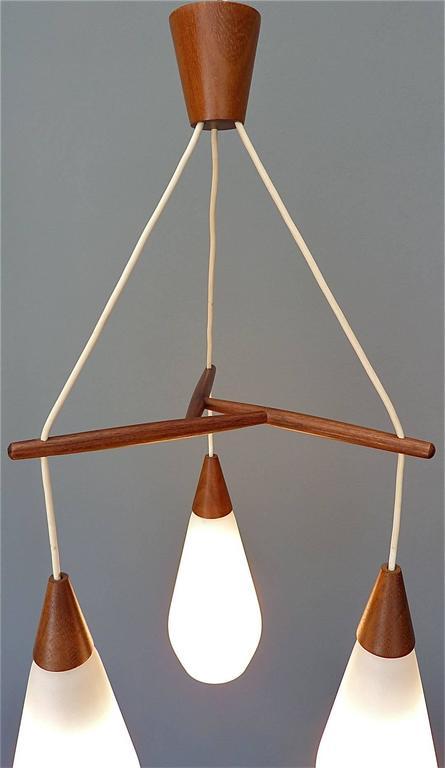 Sculptural Scandinavian Teak White Glass Midcentury Lamp Luxus Uno Kristiansson For Sale 1