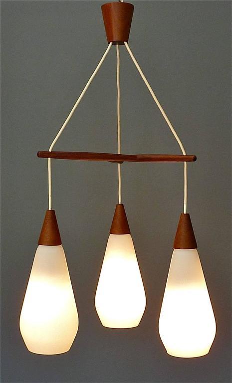 Sculptural Scandinavian Teak White Glass Midcentury Lamp Luxus Uno Kristiansson For Sale 2
