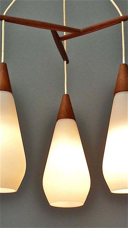 Sculptural Scandinavian Teak White Glass Midcentury Lamp Luxus Uno Kristiansson For Sale 3