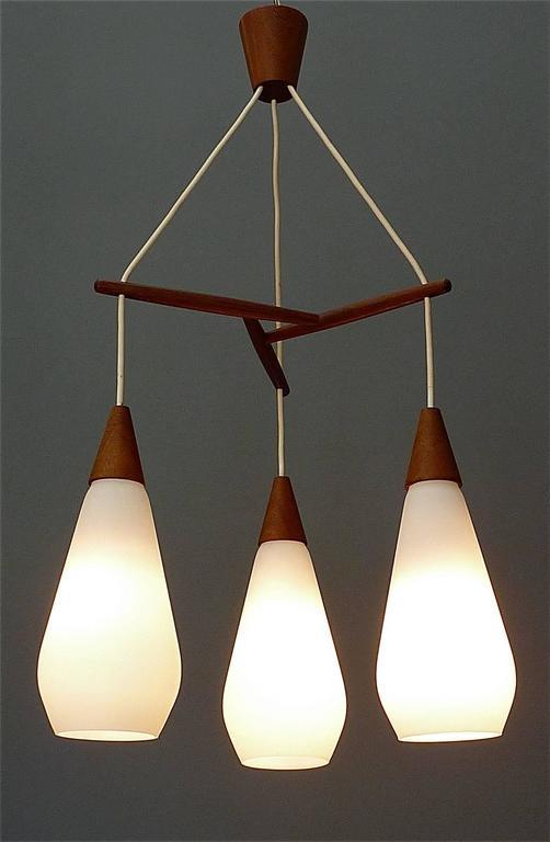 Sculptural Scandinavian Teak White Glass Midcentury Lamp Luxus Uno Kristiansson For Sale 4