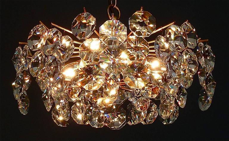 Noble Mid-Century Gilt Brass Faceted Crystal Glass Sputnik ...