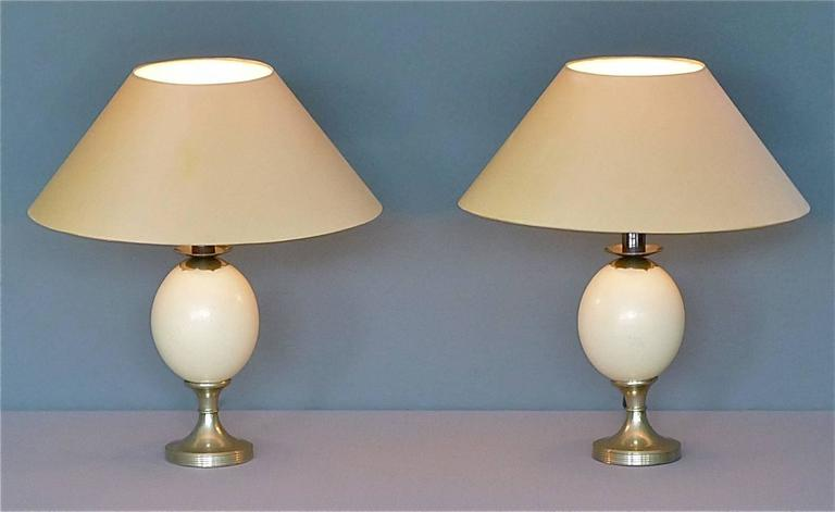 Pair beautiful silver plated ostrich egg table lamps signed by Anthony Redmile, England circa 1970s. The wiring, switch and plug are perfect so the table lamps are in fine working condition and ready to use. Both table lamps stay in a very good