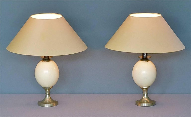 Pair of Signed Anthony Redmile Silver Plated Metal Ostrich Egg Table Lamps 1970s 2