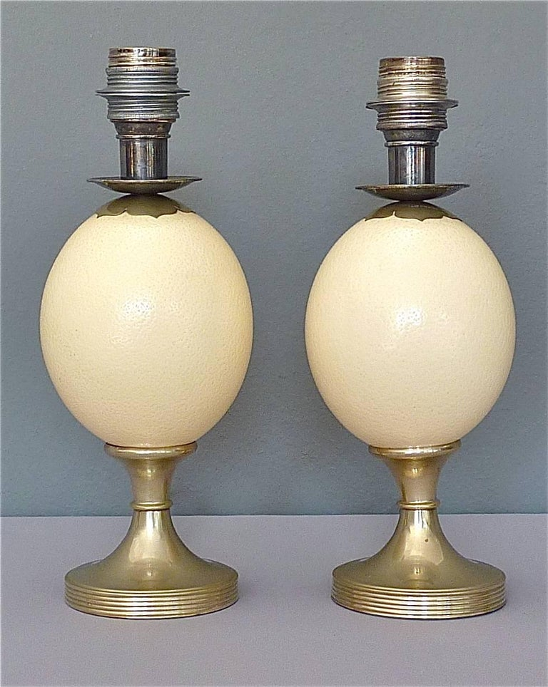 Pair of Signed Anthony Redmile Silver Plated Metal Ostrich Egg Table Lamps 1970s 5